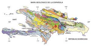 Mapa geológico de Haití y República Dominicana.